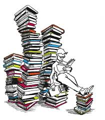 person reading stacks of books