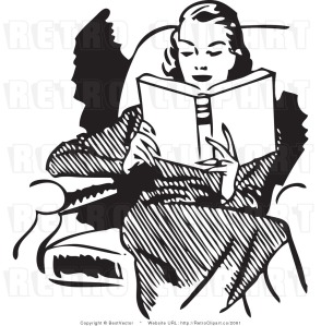Lady Reading Book in Chair 50 style