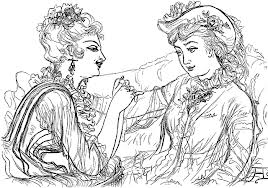 Two women talking clip art pencil drawing