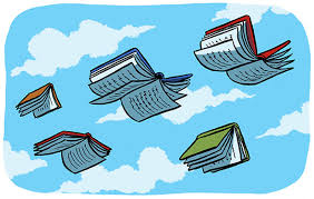 Books with wings in the sky