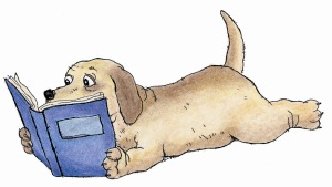 dog-reading blue book